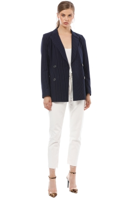 Friend of Audrey - Cecile Navy Striped Blazer - Navy - Front
