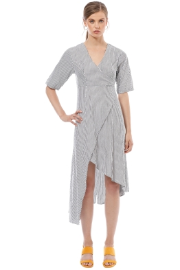 Friend of Audrey - French Riviera Striped Wrap Dress - Stripe - Front