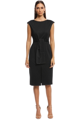 Friend of Audrey - Zuri Contrast Stitching Midi Dress - Black - Front