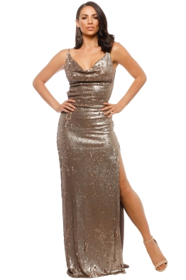 Gemeli Power - Fishscale Dupey Gown - Bronze Gold - Front