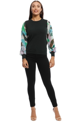 Gorman - Philodendron Knit Top - Black - Front