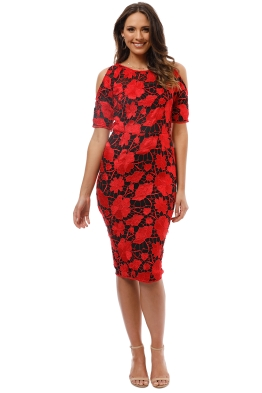 Grace and Hart - Primrose Cold Shoulder Dress - Red - Front