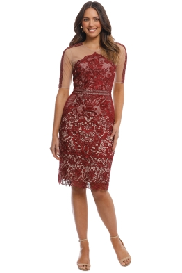 Grace and Hart - Renaissance SS Midi Dress - Burgundy - Front