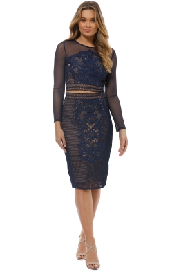 Grace and Hart - Renaissance Top and Skirt Set - Navy - Front