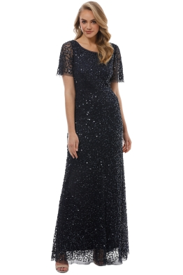 Grace & Blaze - Navy Short Sleeve Sequin Gown - Navy - Front