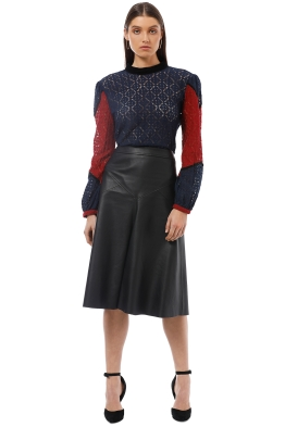 Gysette - Asilah Splice Lace Top - Navy Red - Front