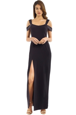 Halston Heritage - Cold Shoulder Fitted Gown - Black - Front