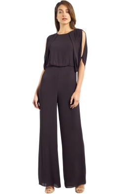 Halston Heritage - Cold Shoulder High Neck Draped Open Back Jumpsuit - Black - Front