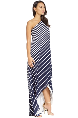 d761191899db Halston Heritage - One Shoulder Stripe Wrap Gown - Navy - Front