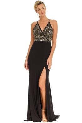 Jadore - Black Sequin Gown - Black - Front