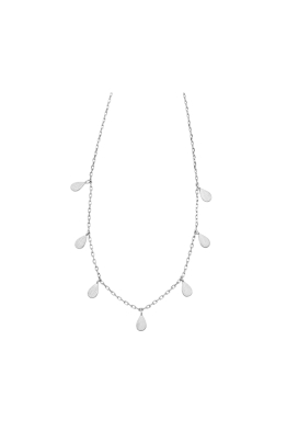 Jolie and Deen - Teardrop Necklace - Silver - Ghost Front