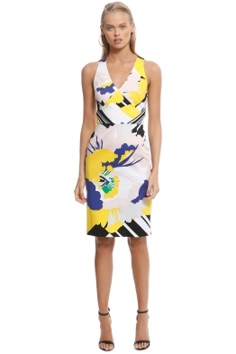 Karen Millen - Blue Flower Stripe Dress - Front