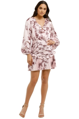 Keepsake-The-Label-Belle-LS-Mini-Dress-Pink-Sparrow-Floral-Front