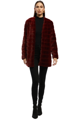 Keepsake the Label - Scenery Fur Jacket - Burgundy - Front