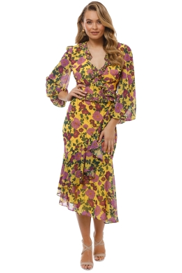 Keepsake the Label - Waves Wrap Top and Skirt Set - Golden Floral -  Front