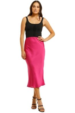 Kookai-Como-Bias-Skirt-Fuchsia-Front