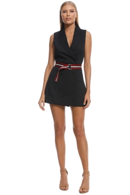 Kookai - Ribbon Sleeveless Playsuit - Black - Front