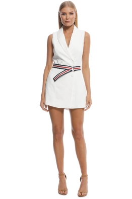Kookai - Ribbon Sleeveless Playsuit - White - Front