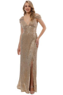 Langhem - Lola Evening Gown - Gold - Front