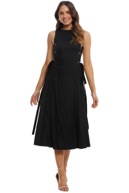 Leo and Lin - Side Lacing Linen Flared Dress - Black - Front