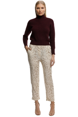 MNG-Animal Print Suit Trousers-Sand-Front