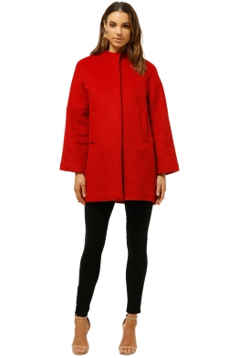 MNG-Pocketed-Wool-Coat-Red-Front-Closed