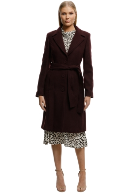 MNG-Structured Wool Coat-Burgundy-Front