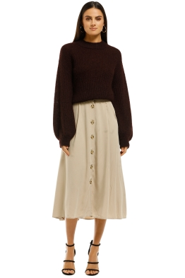 MNG - Buttoned Midi Skirt - Ivory - Front