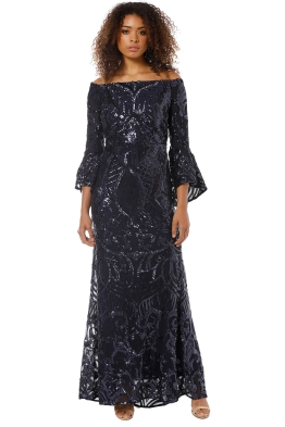 718192216c Montique - Tia Off Shoulder Sequin Gown - Navy - Front