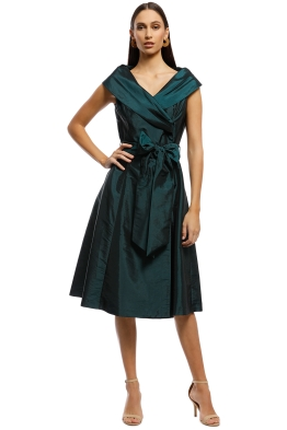 Montique - Valini Tafetta Dress - Emerald - Front