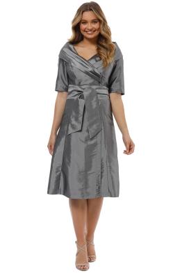 Montique - Veronica Taffeta Dress - Silver - Front