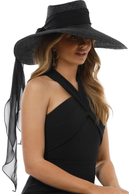 Morgan and Taylor - Large Straw Fedora with Chiffon Scarf - Black - Side Model