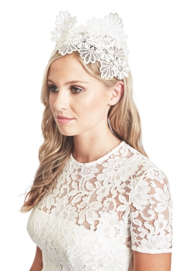 Morgan and Taylor - Aisha Black Fascinator - White - Front