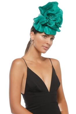 Morgan & Taylor - Sarah Fascinator - Emerald Green - Side Model