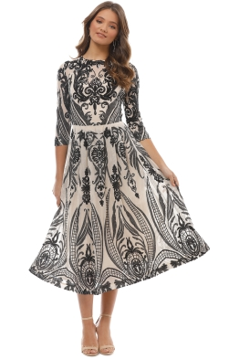 Moss and Spy - Florence A-Line Dress - Black Nude - Front