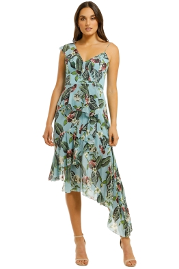 Nicholas-The-Label-Mayflower-Shoulder-Frill-Dress-Teal-Front