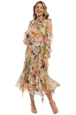 Nicholas - Aveline Vertical Ruffle Midi Dress - Pink Multi - Front