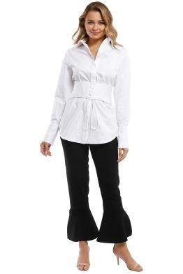 Nicholas - Cotton Corset Belted Shirt - White - Front