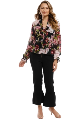 Nicholas - Heather Floral V-Neck Blouse - Black - Front