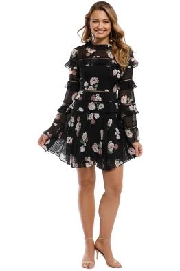 Nicholas - Rose Ruffle Insert Mini Dress - Black - Front