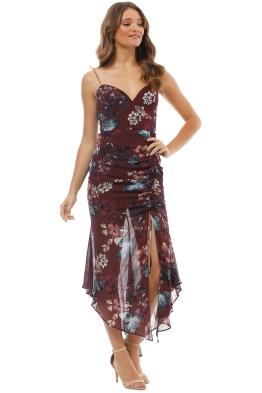 897beb79e997 Nicholas The Label - Burgundy Floral Drawstring Dress - Burgundy - Front