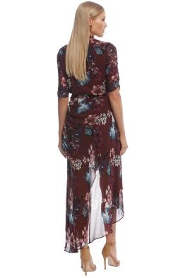 7aa3a8923c6d Nicholas the Label - Burgundy SS Floral Wrap Drape Dress - Burgundy - Front