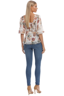 6a1b8cb7ed96 Nicholas The Label - Ivory Floral Square Neck Top - Ivory Floral - Front