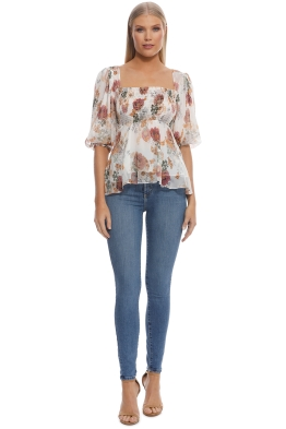 Nicholas The Label - Ivory Floral Square Neck Top - Ivory Floral - Front