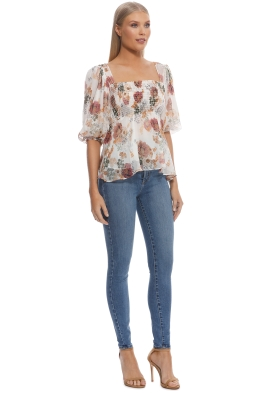 22bf5a2e7798 Nicholas The Label - Ivory Floral Square Neck Top - Ivory Floral - Front