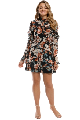 Nicholas the Label - Lola Ruffle Layered Mini Dress - Black Floral - Front