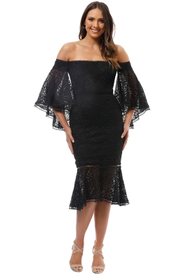 Nicholas the Label - Moroccan Tile Off Shoulder Dress - Black - Front