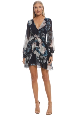 Nicholas The Label - Navy Floral Pintuck LS Mini Dress - Navy - Front