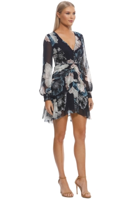 6ffc5989e30 Nicholas The Label - Navy Floral Pintuck LS Mini Dress - Navy - Front