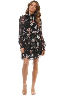 Nicholas The Label - Rose High Neck Mini Dress - Black - Front